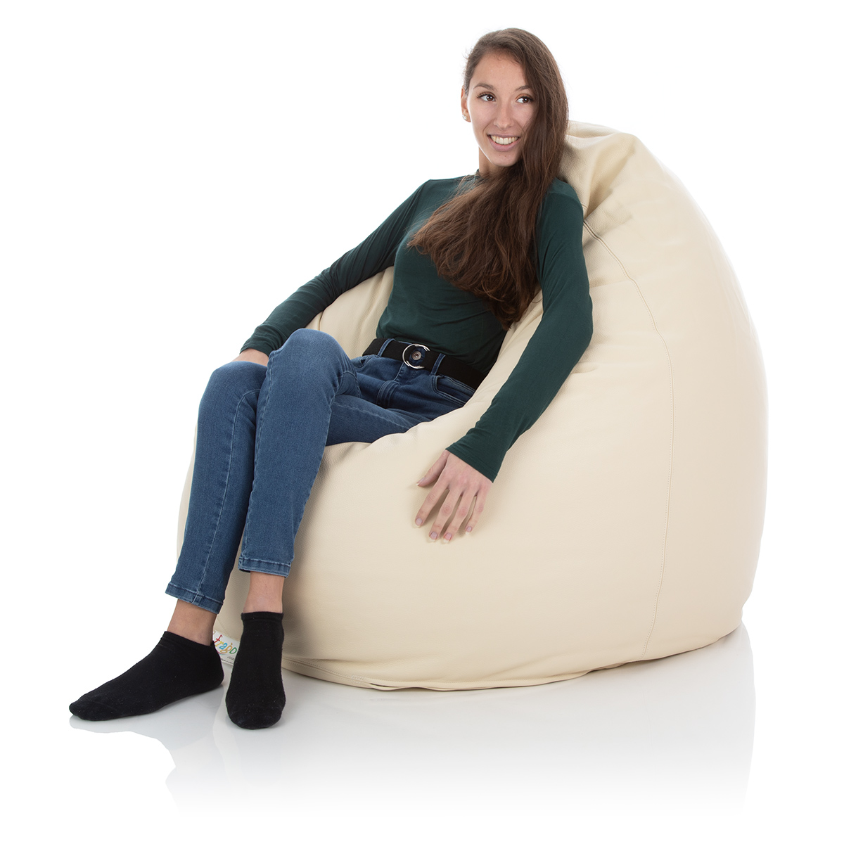 Indoor Sitzsack aus Leder weiß für das Wohnzimmer