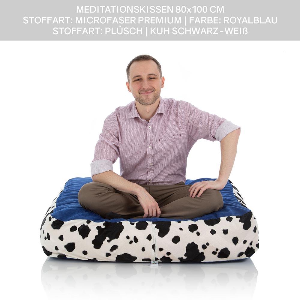 Yoga- und Meditationskissen 80 x 100 cm zweifarbig blau und Kuh schwarz weiß