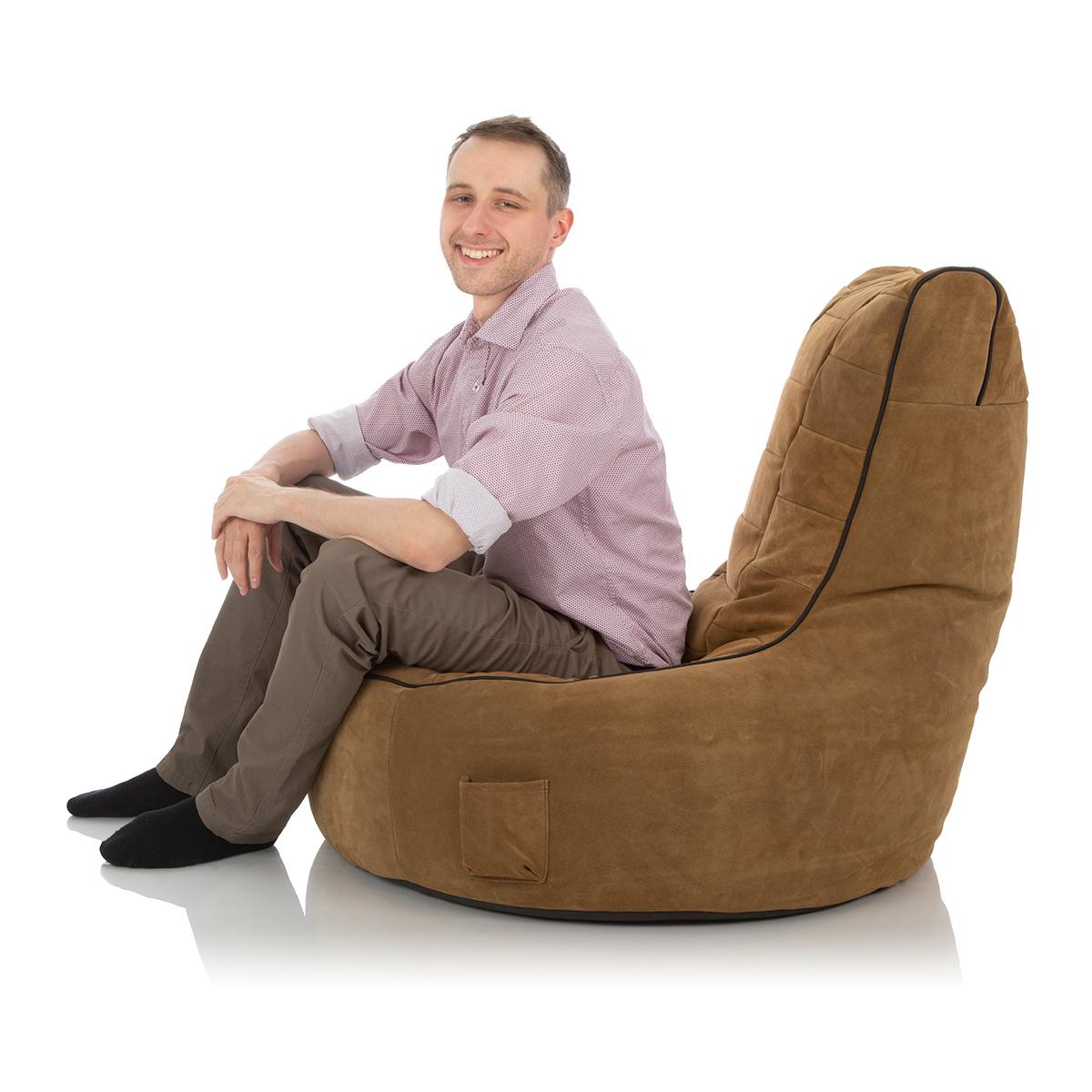 XXL Sitzkissen braun-beige aus Leder fuer Kinderzimmer oder Wohnzimmer