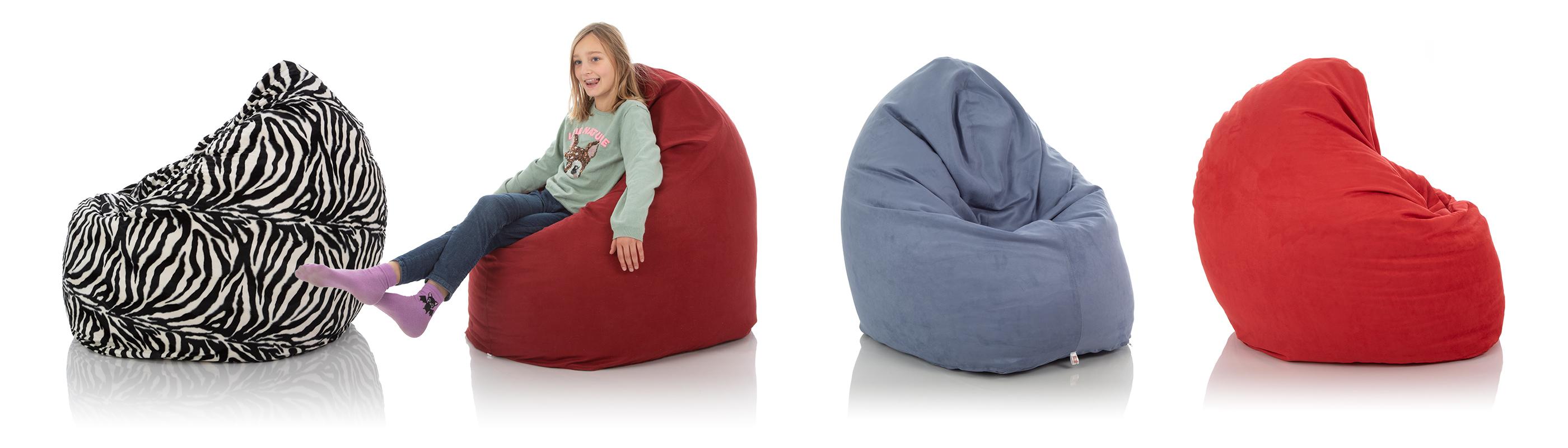 XXL Kinder-Sitzsäcke in schwarz-weiß, rot und blau für das Kinderzimmer