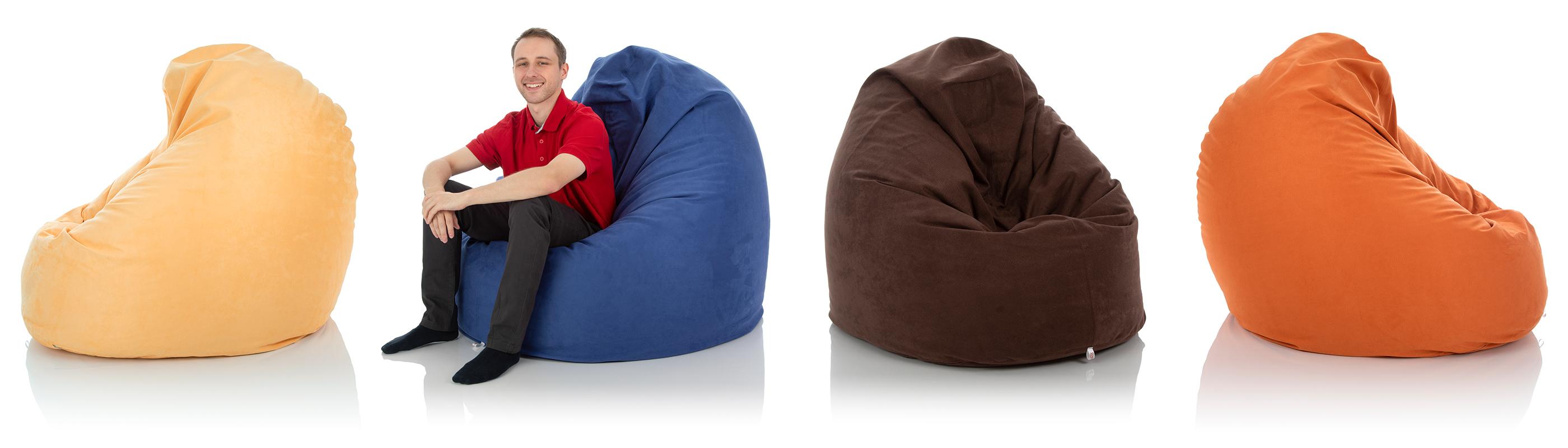 XXL Riesen Lounge-Sitzsack-Sessel von frago in den Farben sand-gelb, blau, braun und orange im Vergleich