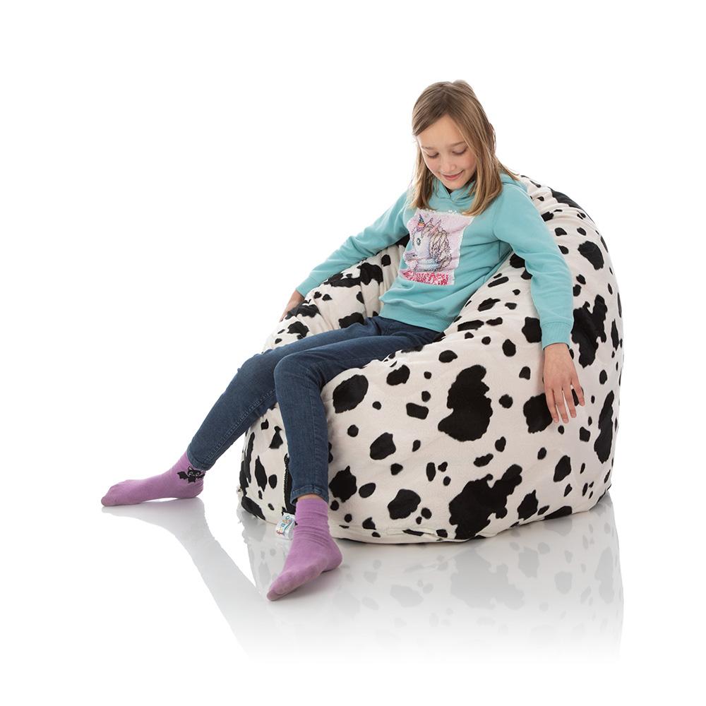 frago Kinderzimmer Sitzsack für Kinder weiß-schwarz aus Plüsch