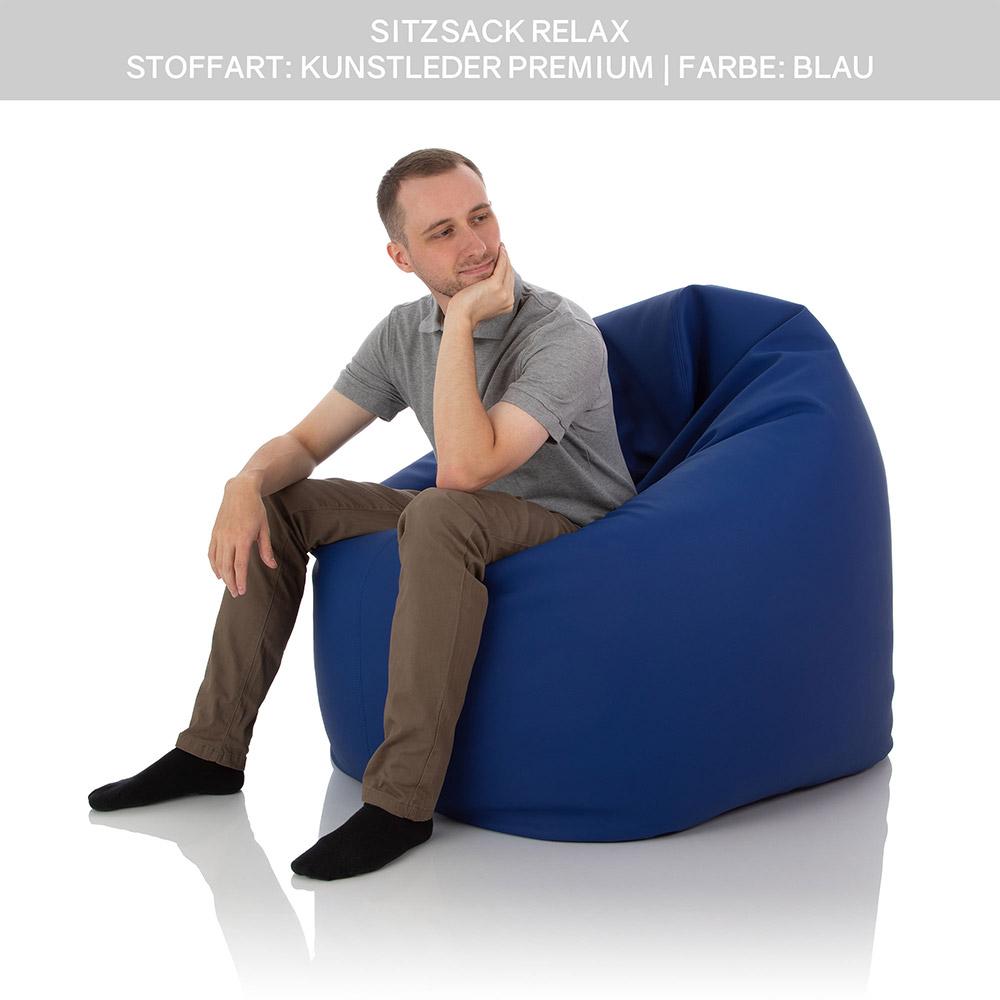Runder Sitzsack Relax in Kunstleder blau mit 600 Liter Füllung