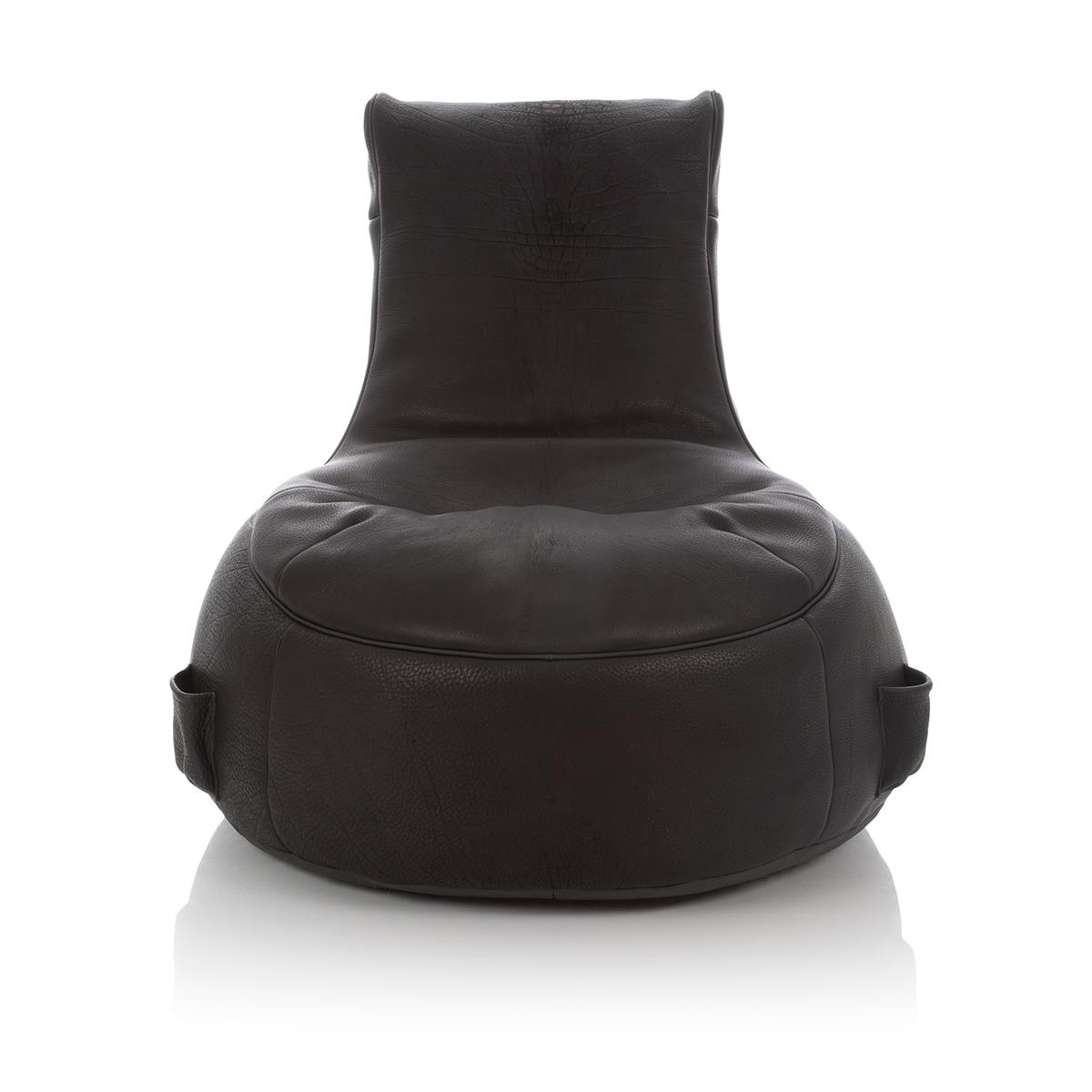 Lounge Sitzsack mit schwarzem Bezug aus Cuero Torro Leder
