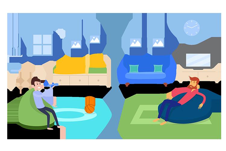 Ein gruener Outdoor Sitzsack im Kinderzimmer wird mit einem blauen indoor Sitzsack im Wohnzimmer verglichen