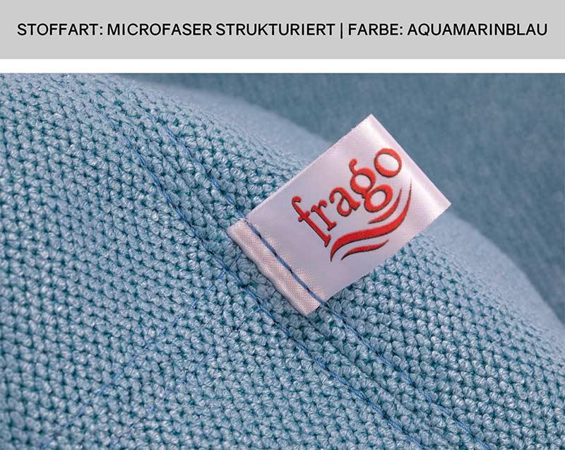 Nahaufnahme der Sitzsack Doppelsteppnaht auf blauem Microfaser Stoff