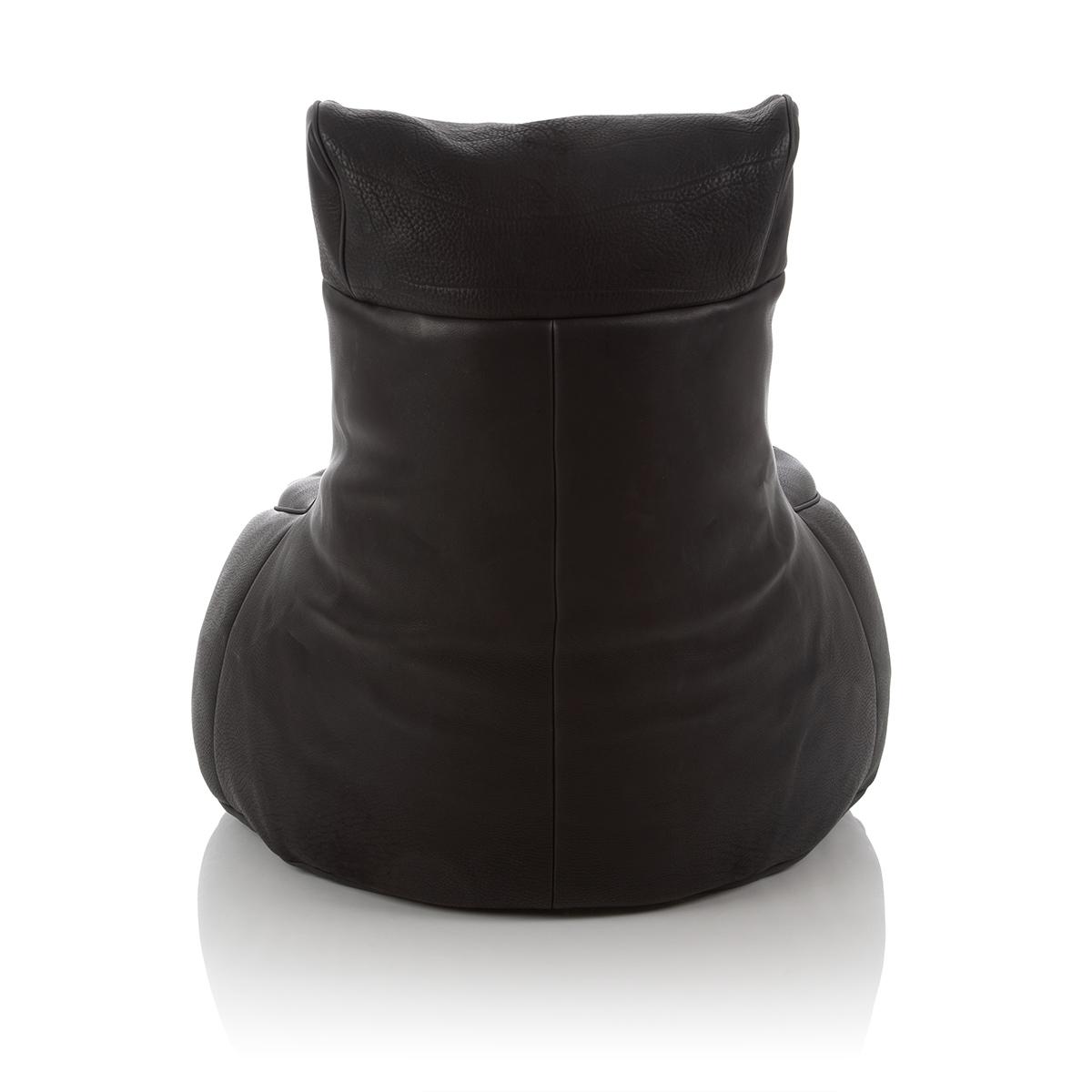 XXL Gaming Sitzsack mit Rueckenlehne aus Leder schwarz