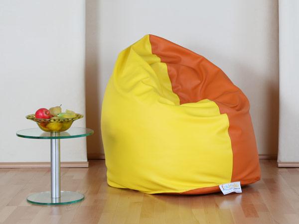 6531-20080201-sitzsack-sunny-kunstleder-sonnenblumengelb-mittelorange-mandarin-linke-haelfte-farbe-1-rechte-haelfte-farbe-2