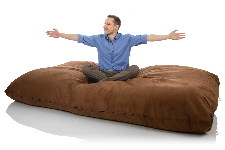 Sitjoy XXL Sitzsack Riesenkissen 120 x 220 cm Tabak Braun für das Wohnzimmer