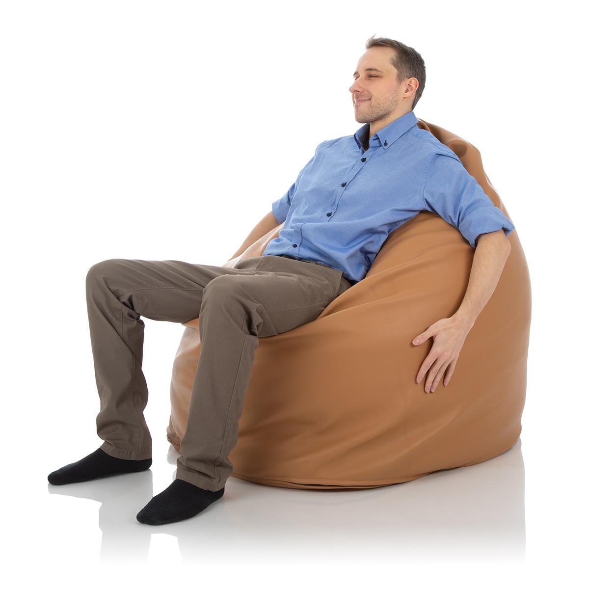 XXL Sitzsack Relax aus Leder Karamell Braun