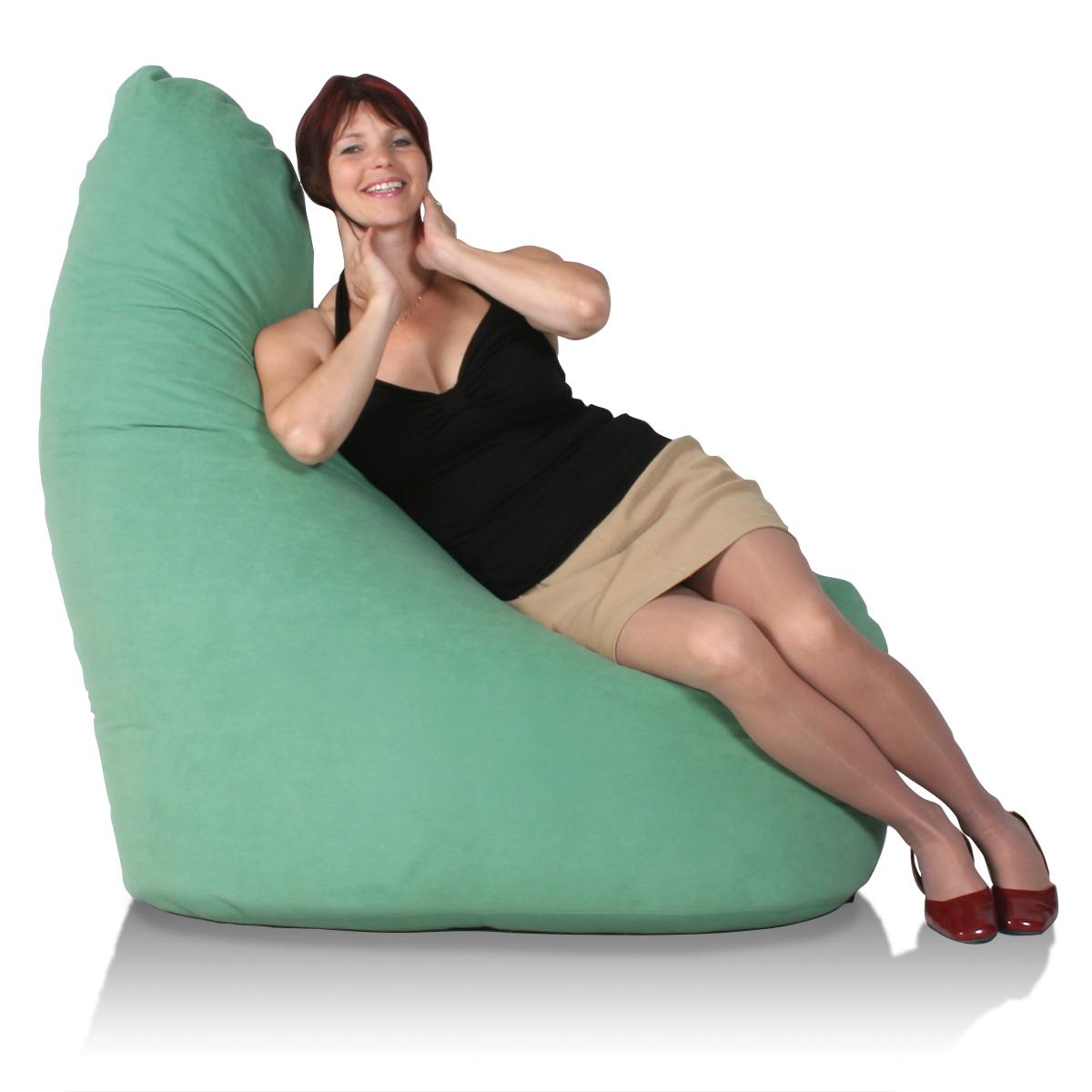 Riesiger Lounge Sitzsack gruen mit Rückenlehne