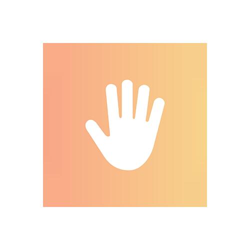 Logo offene Hand Sitzsack selber füllen