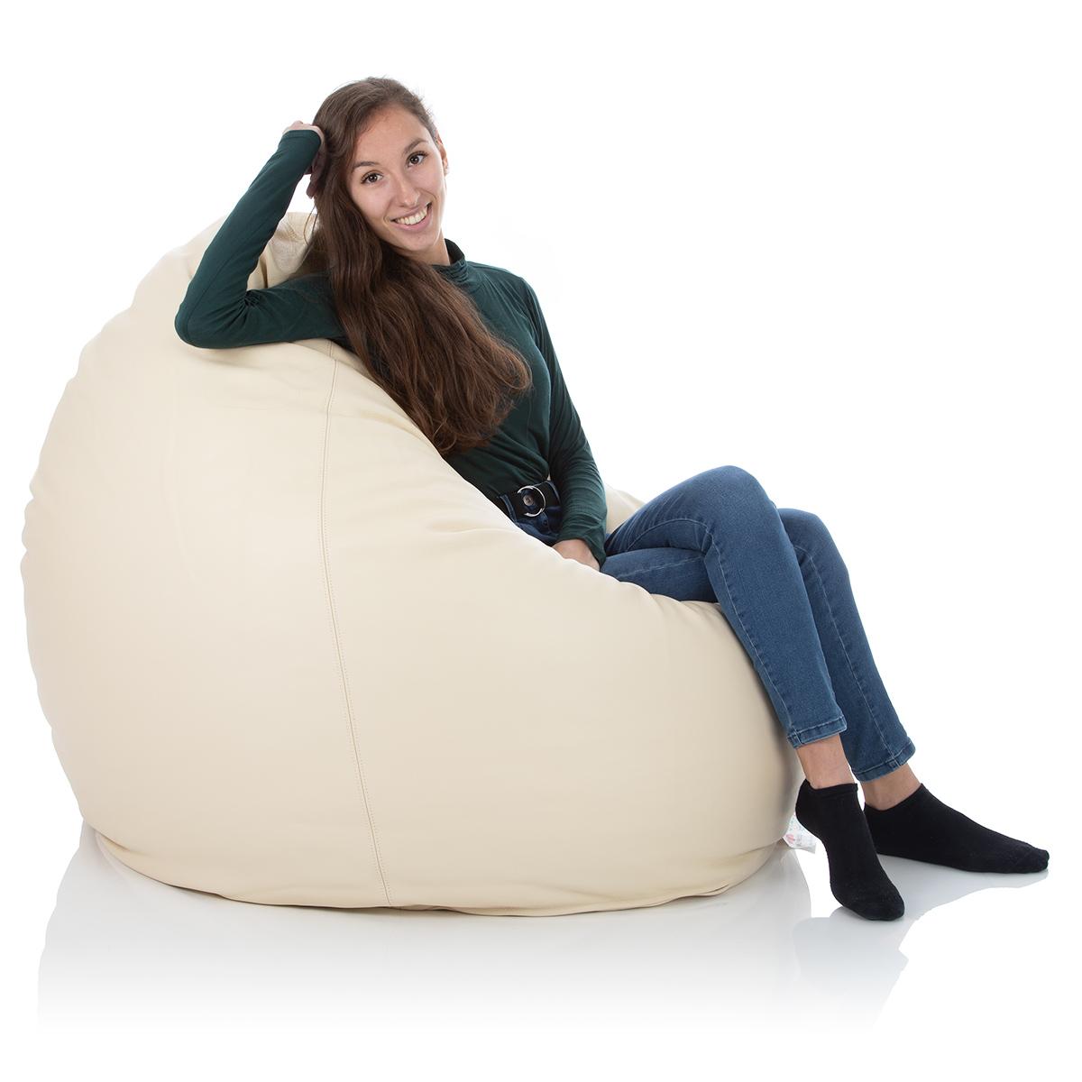 Indoor XXL Leder-Sitzsack Altweiß für das Wohnzimmer