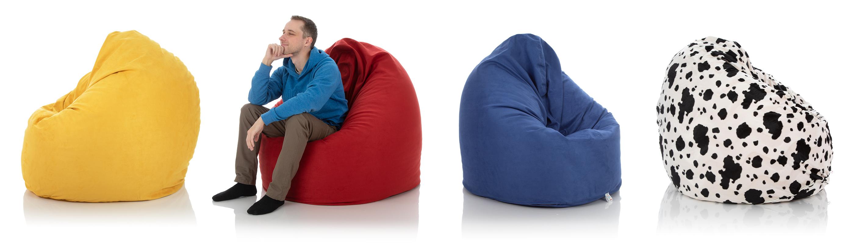 Lounge-Sitzsack-Sessel von frago in den Farben gelb, rot, blau und schwarz-weiß im Vergleich