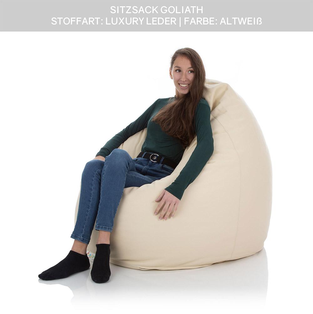 XXL Luxury Leder Sitzsack Goliath altweiß mit Innensack