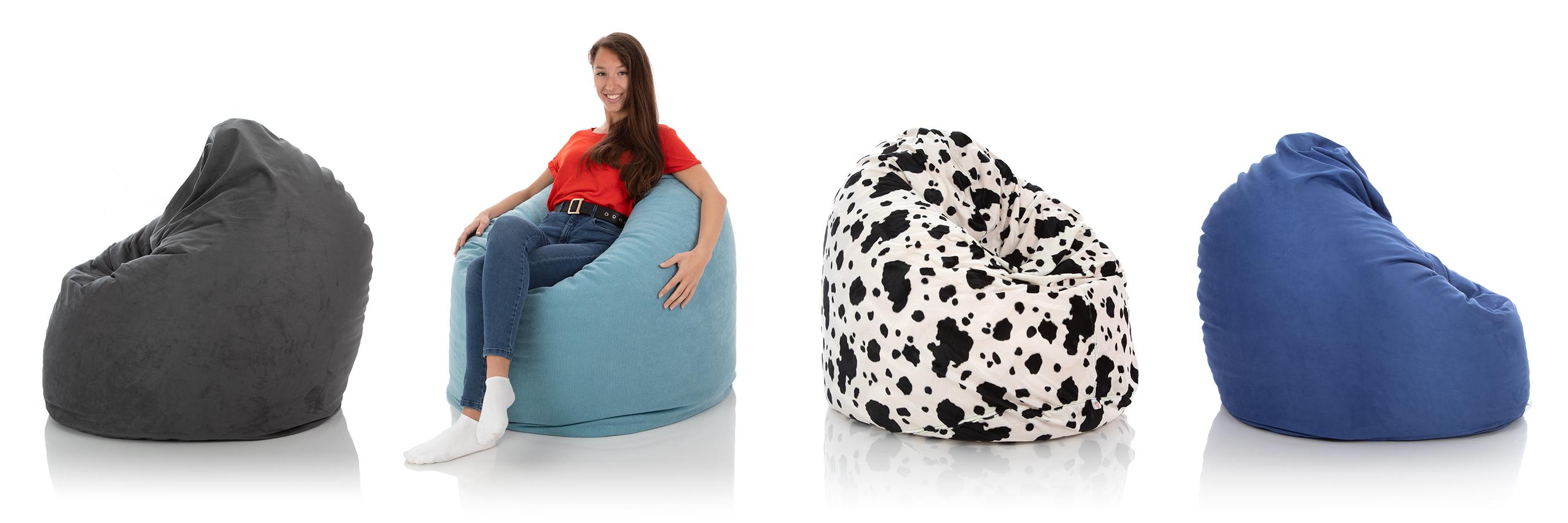 XXL Indoor Sitzsack Relax in anthrazit, blau, schwarz-weiss mit 600 Liter Füllung