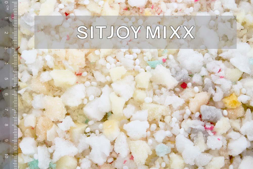 Sitjoy Mixx Füllmaterial für XXL Sitzsäcke und Riesenkissen mit Größenvergleich