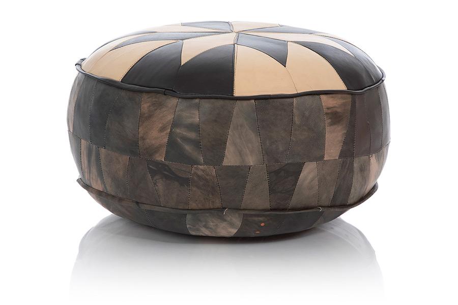 Großes Pouf Sitzkissen mit schönem Design aus Ziegen-Leder