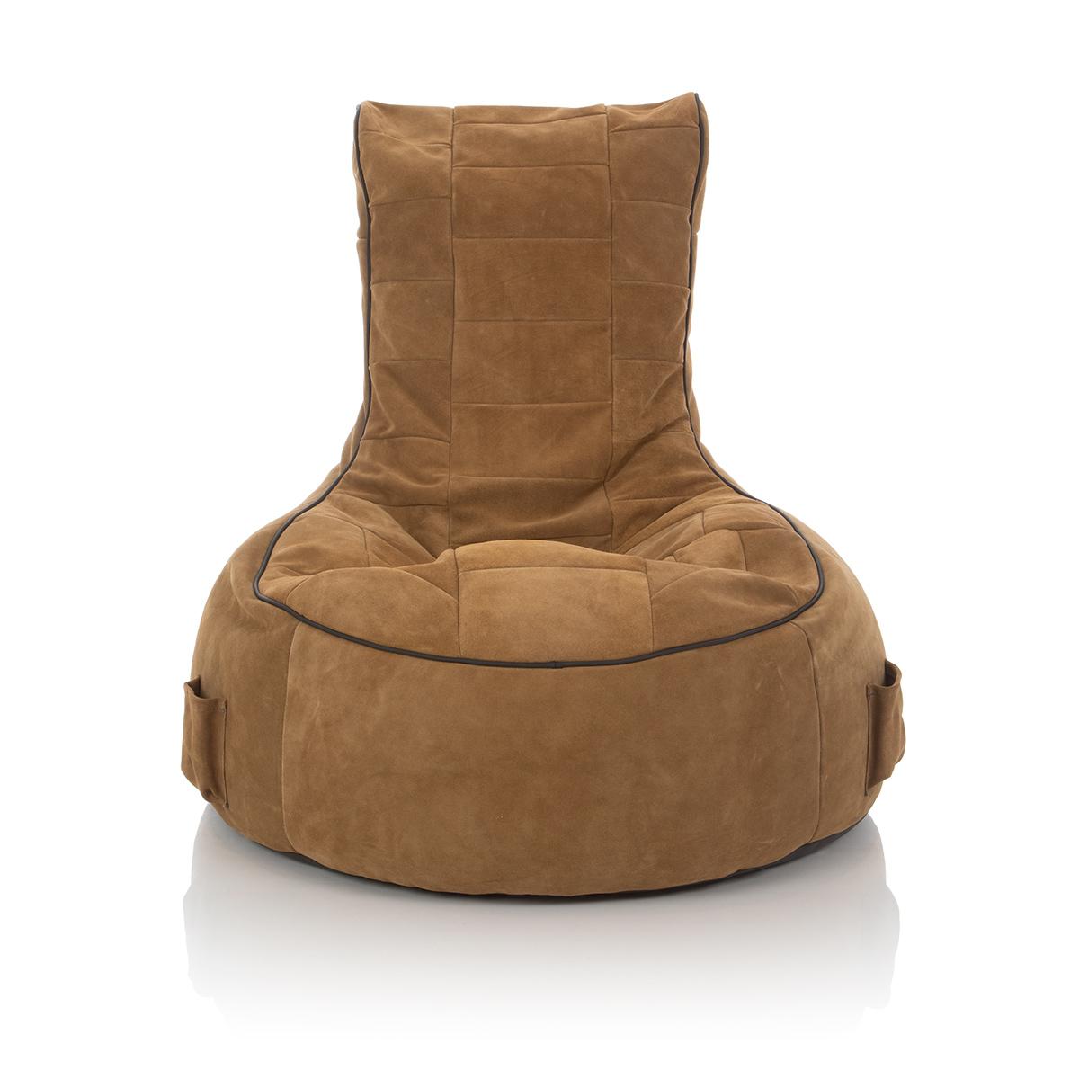 Lounge Sitzsack mit Bezug braun-beige aus Wildleder