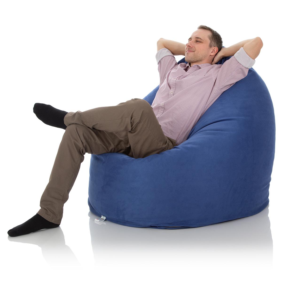 Runder Sitzsack Indoor für das Wohnzimmer in blau zum Chillen und Entspannen