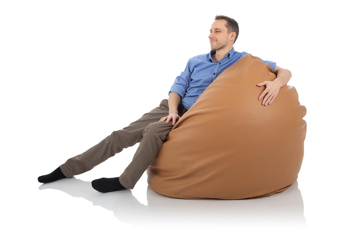 Riesen-Sitzsack Relax aus Leder Braun von Sitjoy